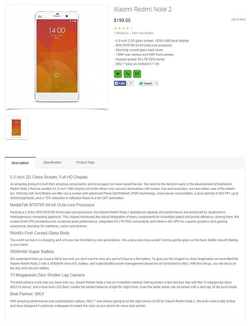 Xiaomi Redmi Note 2 specs leaked by retailer