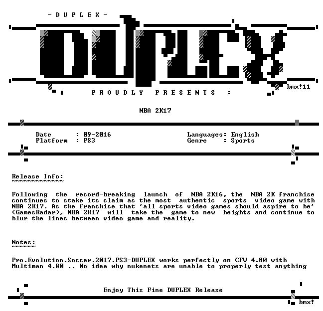 NBA 2K17 PS3-DUPLEX