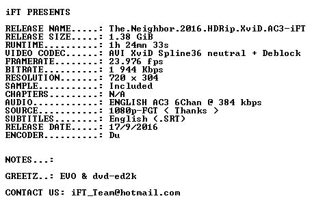The Neighbor 2016 HDRip XviD AC3-iFT