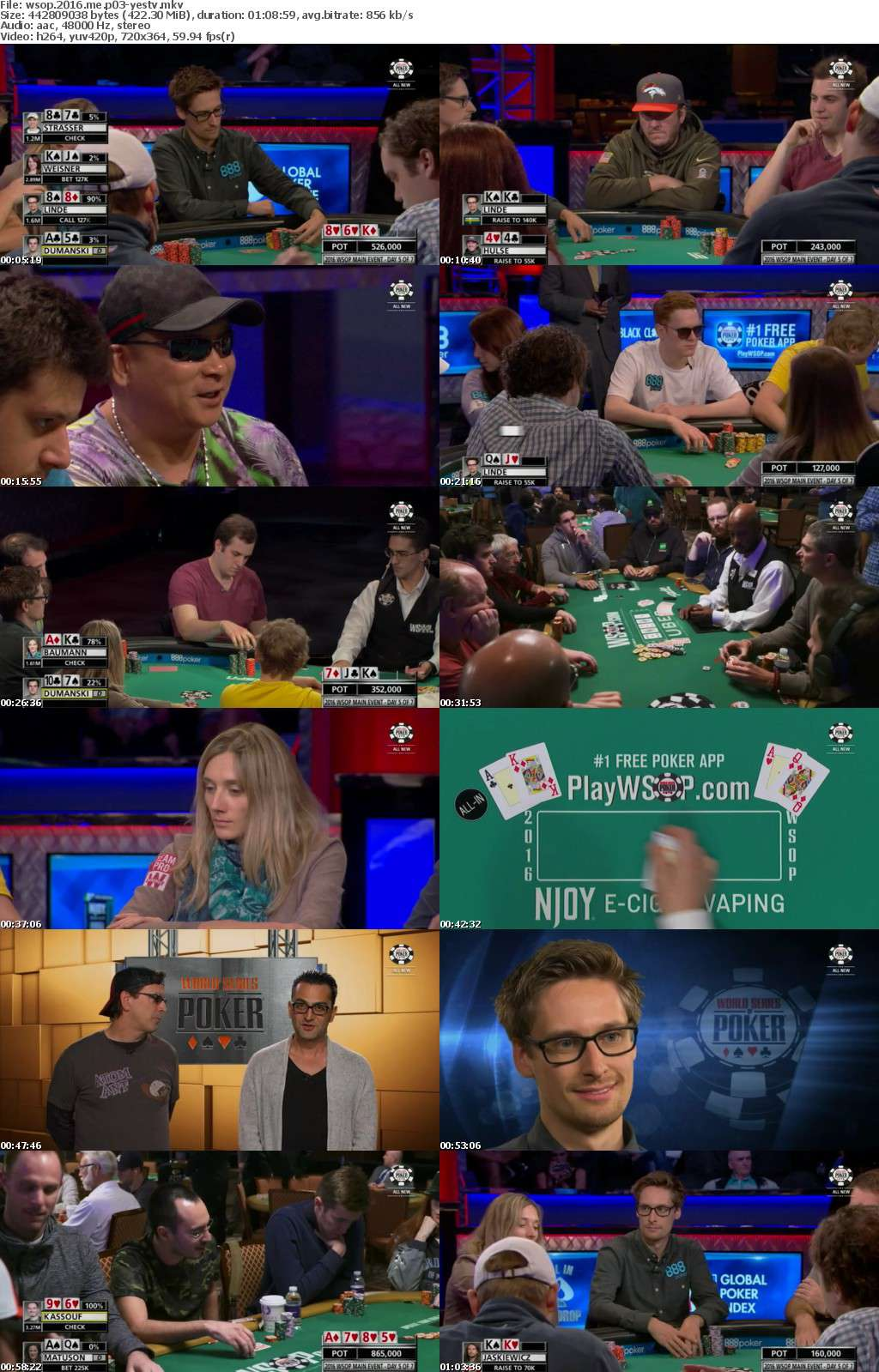 World Series Of Poker 2016 Main Event Part 03 HDTV x264-YesTV