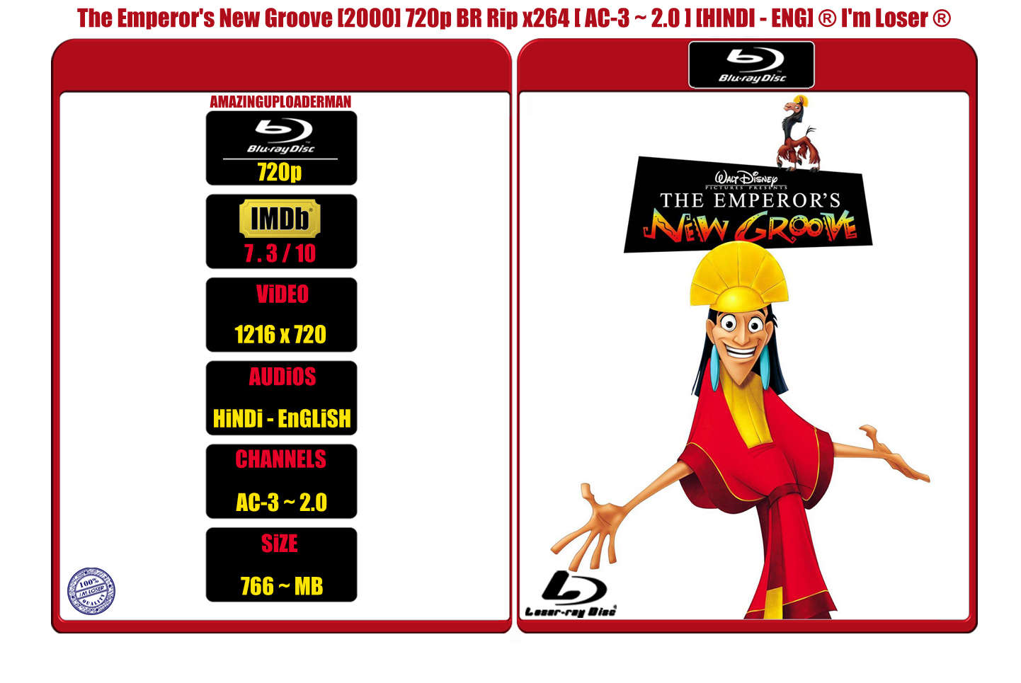 The Emperors New Groove [2000] 720p BR Rip x264 [AC-3 ~ 2.0] [HINDI - ENG] ® Im Loser ®