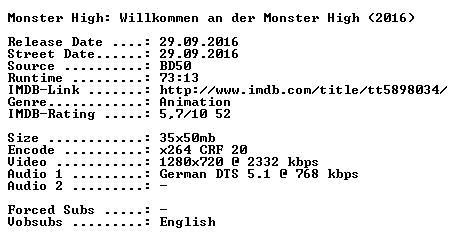 Monster High Willkommen an der Monster High 2016 German 720p BluRay x264-SPiCY