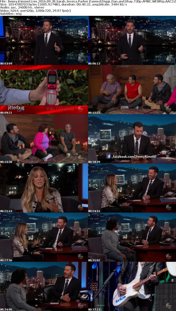 Jimmy Kimmel Live 2016 09 28 Sarah Jessica Parker Daveed Diggs Dan and Shay 720p AMBC WEBRip AAC2 0 x264-monkee