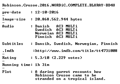 Robinson Crusoe 2016 NORDiC COMPLETE BLURAY-BD4U
