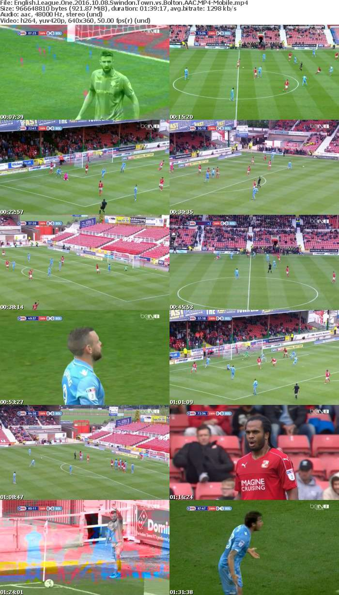 English League One 2016 10 08 Swindon Town vs Bolton AAC-Mobile