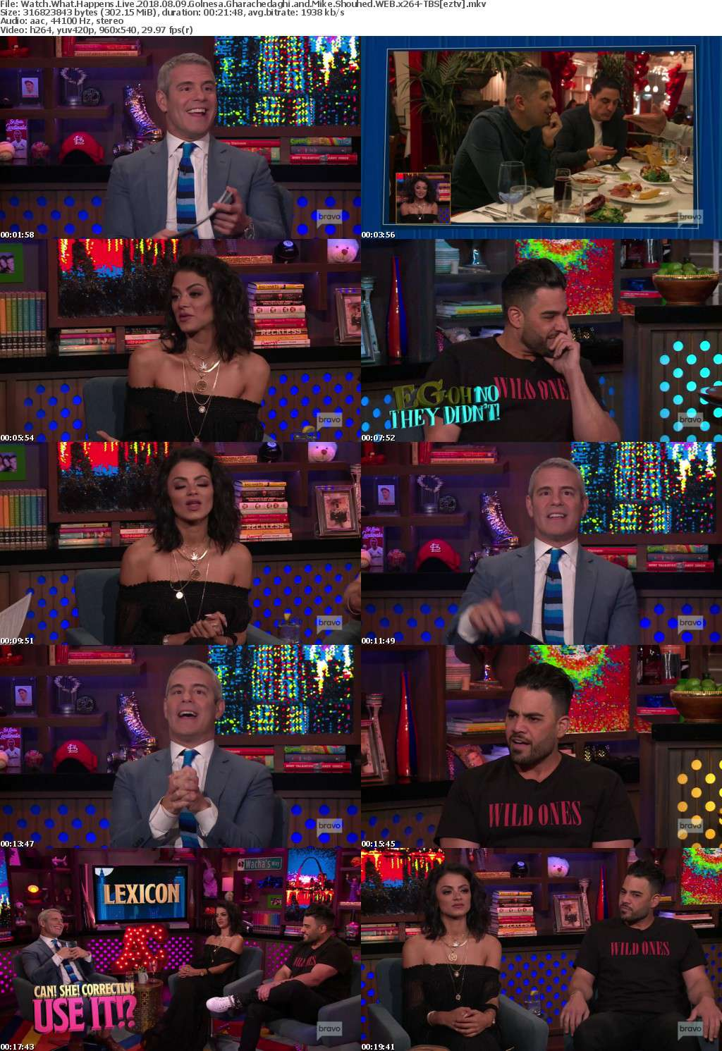 Watch What Happens Live 2018 08 09 Golnesa Gharachedaghi and Mike Shouhed WEB x264-TBS