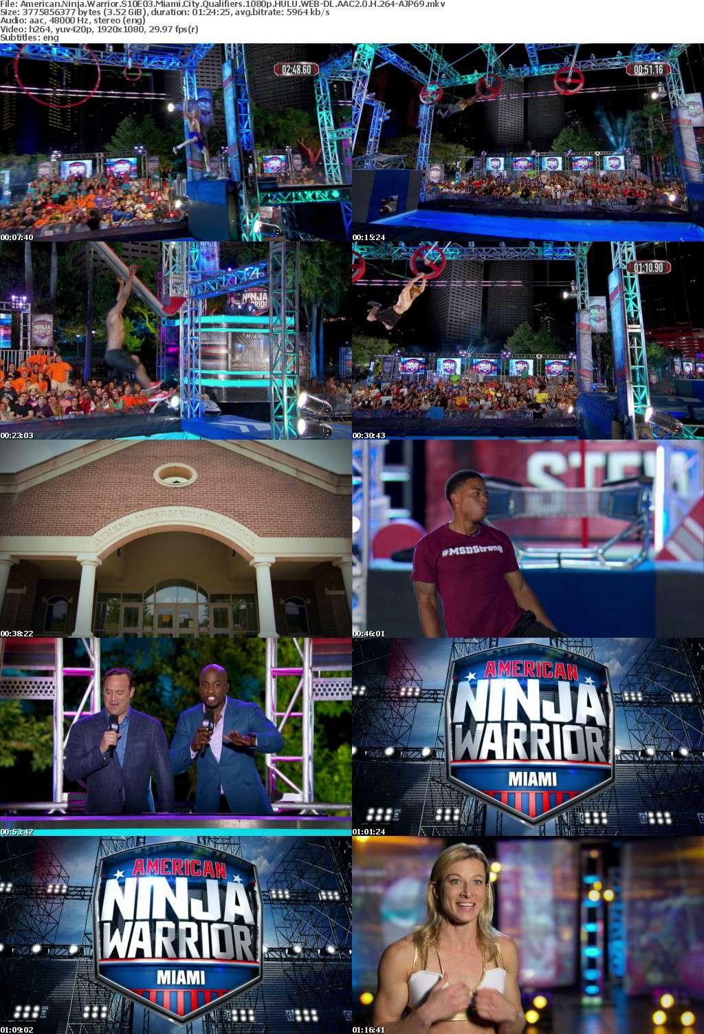 American Ninja Warrior S10E03 Miami City Qualifiers 1080p HULU WEB-DL AAC2 0 H 264-AJP69