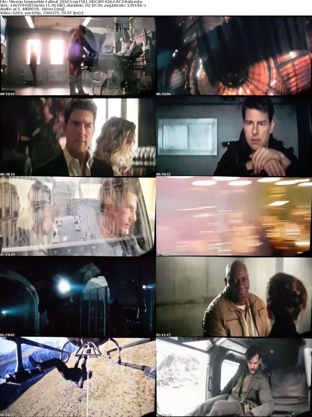 Mission Impossible Fallout 2018 New FULL HDCAM-X264-AC3-Bobi