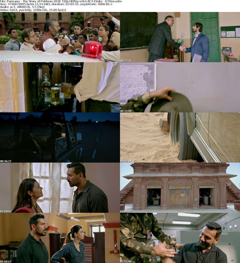 Parmanu - The Story of Pokhran 2018 720p HDRip x264 AC3 ESubs - DTOne