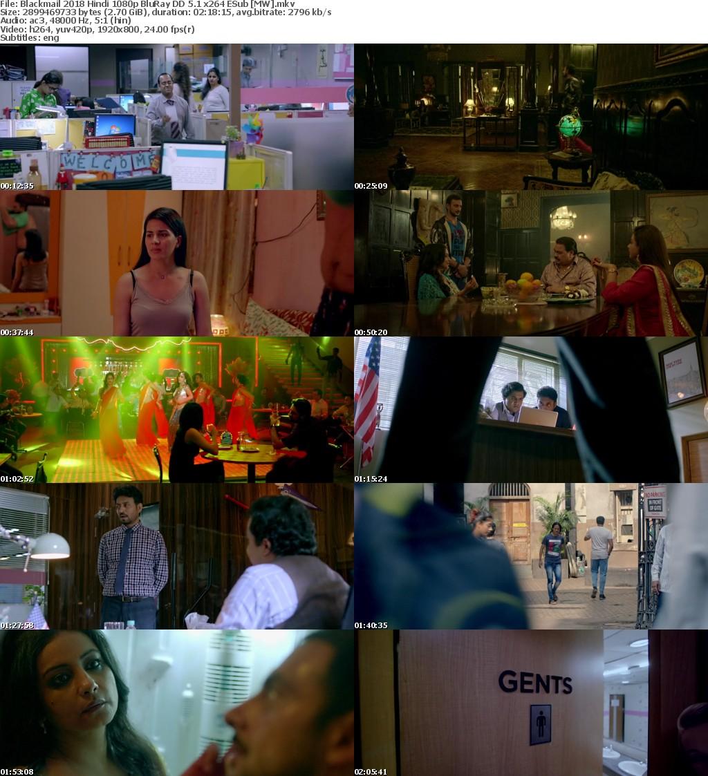 Blackmail 2018 Hindi 1080p BluRay DD 5 1 x264 ESub MW