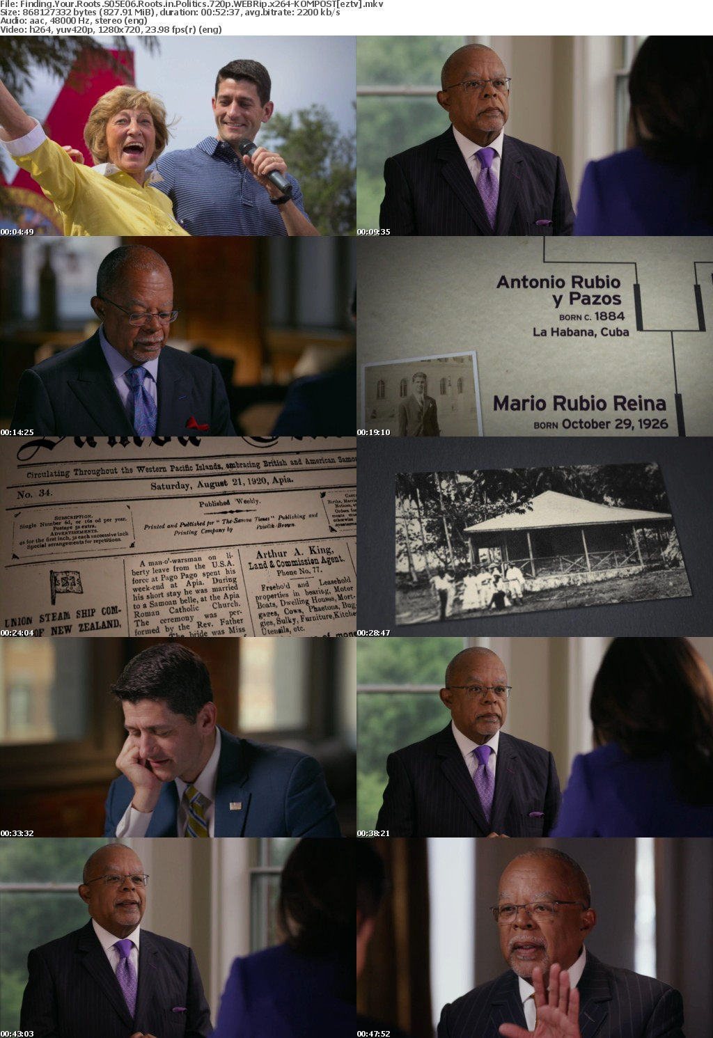 Finding Your Roots S05E06 Roots in Politics 720p WEBRip x264-KOMPOST