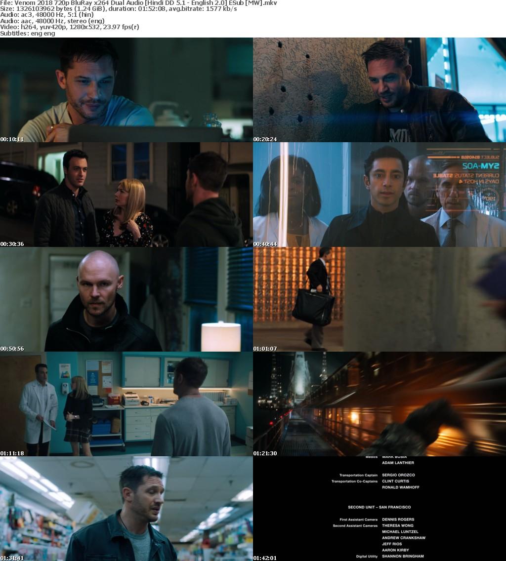 Venom (2018) 720p BluRay x264 Dual Audio Hindi DD 5.1 - English 2.0 ESub MW