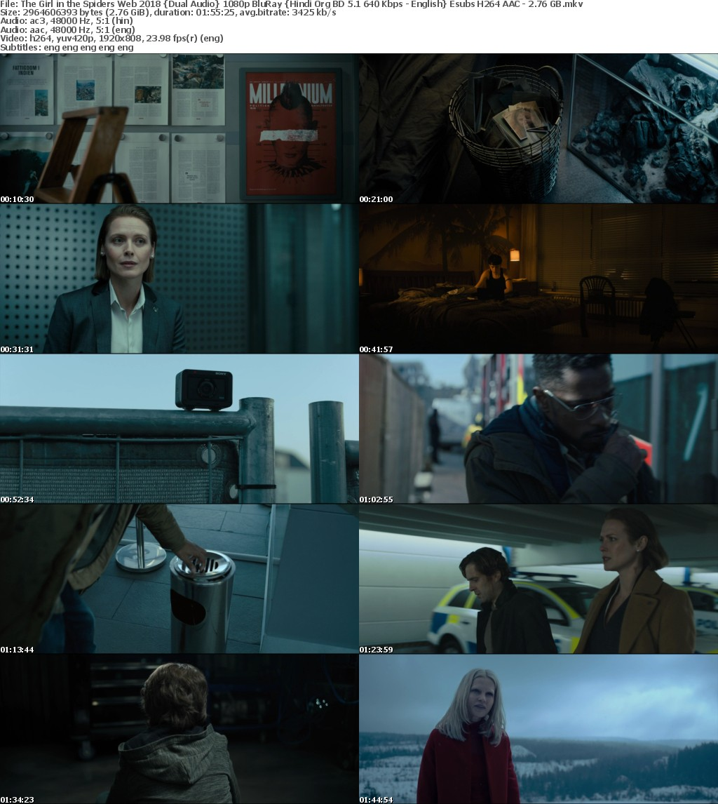 The Girl in the Spiders Web (2018) Dual Audio 1080p BluRay Hindi Org BD 5.1 640 Kbps - English Esubs H264 AAC - 2 76 GB mkv