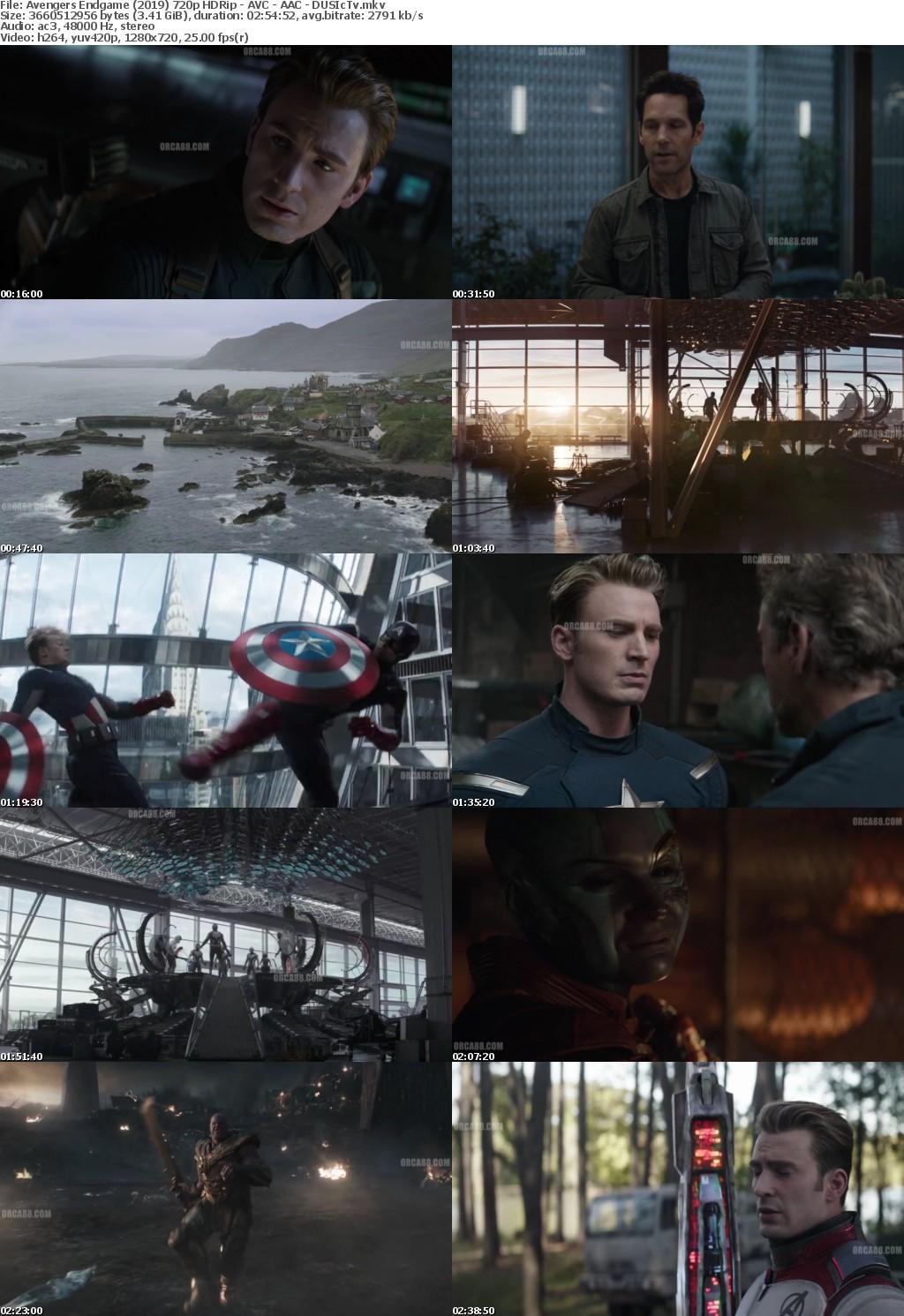 Avengers Endgame (2019) 720p HDRip - AVC - AAC - DUSIcTv