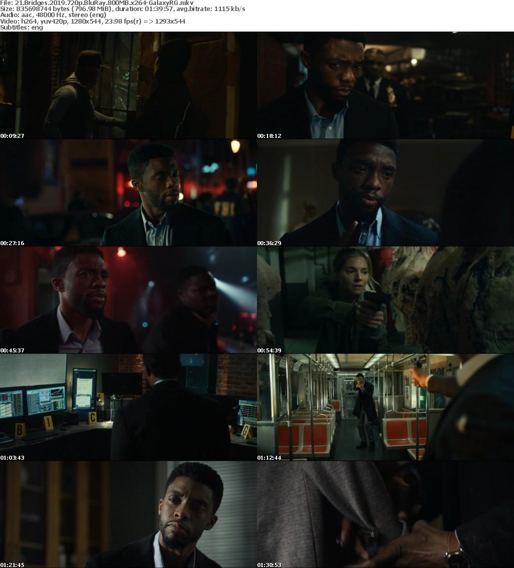 21 Bridges (2019) 720p BluRay 800MB x264-GalaxyRG
