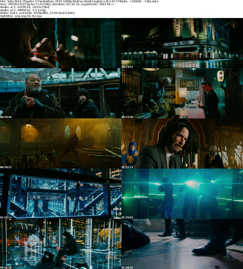 John Wick Chapter 3 Parabellum 2019 1080p BluRay Hindi English x264 AC3 MSubs - LOKiHD - Telly