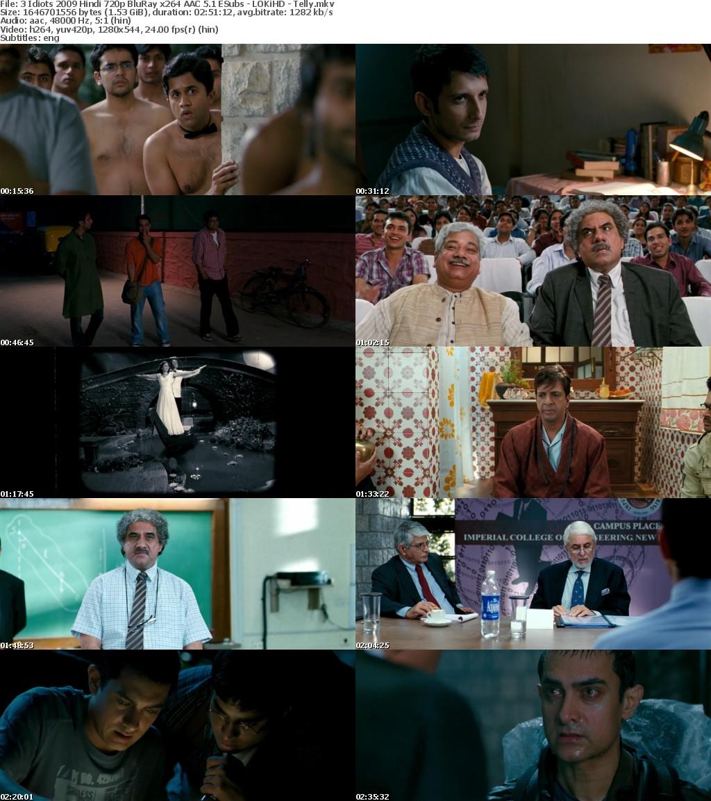 3 Idiots 2009 Hindi 720p BluRay x264 AAC 5 1 ESubs - LOKiHD - Telly